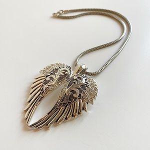 Magnetic Rhinestone Angel Wings Pendant necklace
